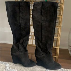 Modern vintage suede tall black boots